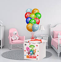 """Коробка-сюрприз 70х70см белая с гелиевыми шарами + наклейка + композиция из шаровв тематике """"Фиксики"""""""