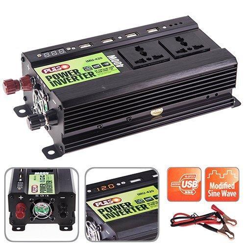 Преобразователь напряжения 24V-220V/400W/ 4USB-5VDC2.0A/LED/мод.волна/клеммы/ PULSO IMU-424