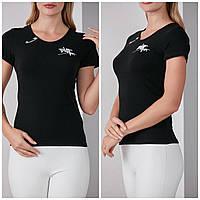 Трикотажная стильная летняя женская футболка с надписью, черная FP 2053