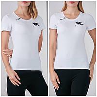 Трикотажная стильная летняя женская футболка с надписью, белая FP 2053
