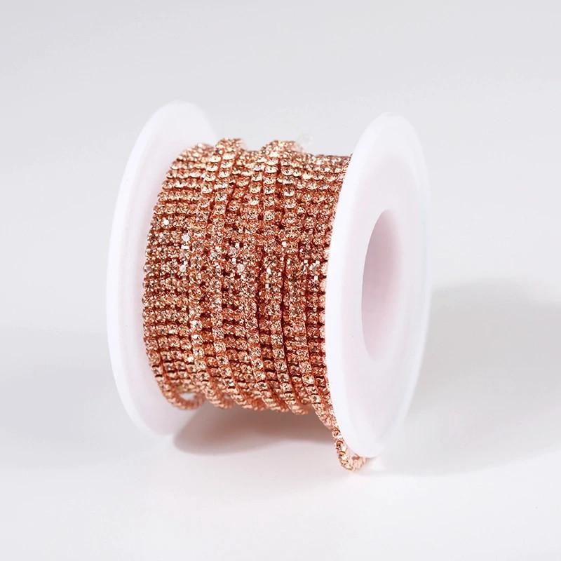 Стразовая цепочка, цвет Peach SS6(2мм), оправа под цвет страз, 1м.