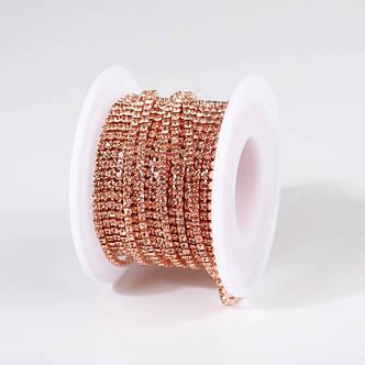 Стразовая цепочка, цвет Peach SS6(2мм), оправа под цвет страз, 1м., фото 2