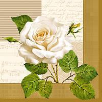 "Салфетки для декупажа ""Белая роза"" 33*33 см №11"