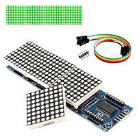 Модуль MAX7219, Светодиодная Матрица, 4 сегмента 8х8, зеленые пиксели