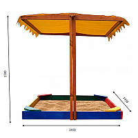 Детская песочница цветная SportBaby с уголками и навесом 145х145х150 Песочница 23, КОД: 2376609