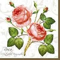 """Салфетки для декупажа """"Колючие розы"""" белые 33*33 см №13"""