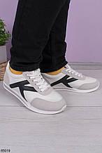 Кроссовки женские белые с серым/ черным эко-замш + эко кожа