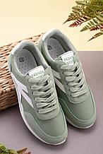 Женские стильные кроссовки хаки- зеленые текстиль+ эко замш