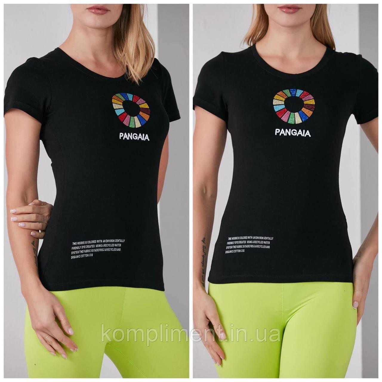 Трикотажная стильная летняя женская футболка с цветным рисунком, черная FP 2056