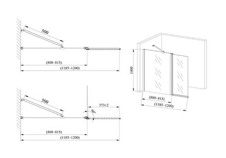 Стеклянная шторка для ванны AVKO Glass 542-1 40+80x140 Clear, фото 2