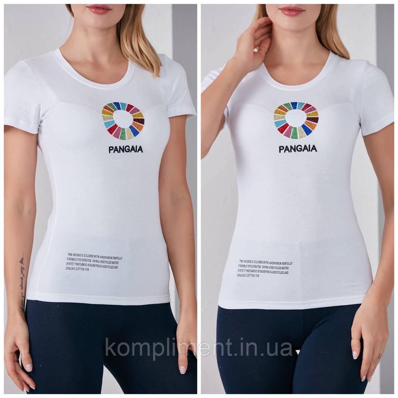 Трикотажная стильная летняя женская футболка с цветным рисунком, белая FP 2056