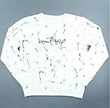 Світшот трикотажний білий жіночий, стильний модний осінній світшот, фото 2