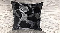 Подушка декоративная 45х45 серо-черная