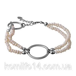 Серебряный браслет с натуральным барочным жемчугом