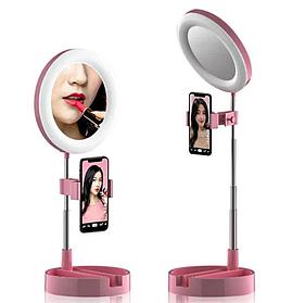 Кольцевая LED Лампа 16 См С Держ И Зеркалом Для Блога/Визажа G3