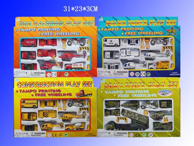 Набір модельок 9 шт транспорт металевий пластик 4 види в коробці 927W15