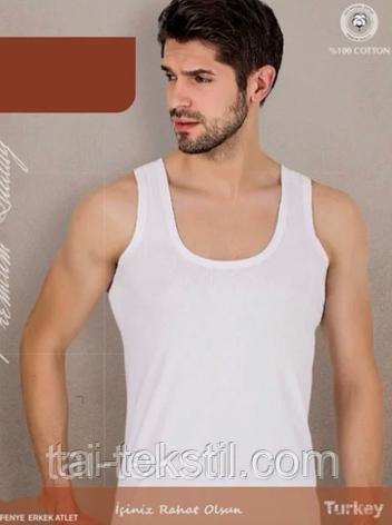 Майка мужская белая высокого качества (рибана) M - 46-48 р, фото 2