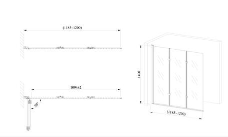 Стеклянная шторка для ванны AVKO Glass 542-7 120х140 Frosted, фото 2