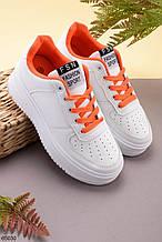 Кроссовки/ кеды  женские белые с оранжевым эко кожа