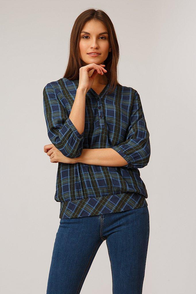 Блуза в клітку Finn Flare B19-32027-101 темно-синій