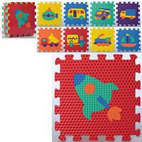 Детский коврик пазлы МАСАЖНЫЙ Транспорт 0361 Коврик пазл для детей на пол Коврик пазл детский Коврик-пазл