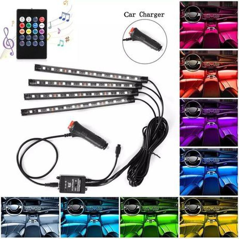 Светодиодная подсветка для авто водонепроницаемая RGB led HR-01678 8 цветов 4 ленты
