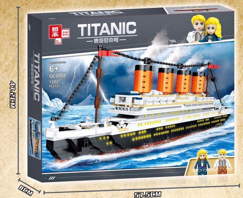 """Конструктор QL 0958 """"Пассажирский лайнер Титаник"""" 1202 деталей."""