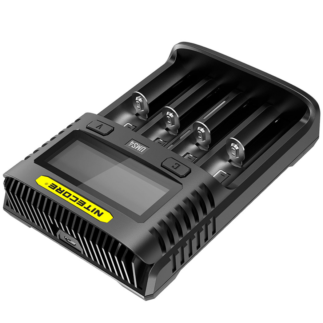 Универсальное зарядное устройство Nitecore UMS4, 4 канала, Ni-Mh/Li-Ion/IMR/LiFePO4 (3.6-4.35V), USB QC2.0,LCD