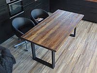Стол деревянный в стиле лофт на металлических ножках