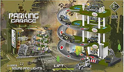 Гараж паркінг для дитячих машинок Ігровий набір 4 поверху 3 машинки звук світло