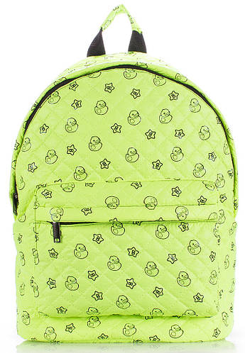 Яркий молодежный стеганный рюкзак с принтом POOLPARTY theone-salad-ducks салатовый