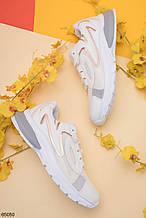 Женские кроссовки бежевые/ беж с серым эко-кожа + текстиль