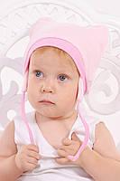 Детская шапочка велюровая с ушками ( розовая ), детская шапочка на завязках