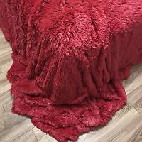 Покривало/плед (штучне хутро 2кг) 220*240 Довгий ворс ( бордовий), фото 1