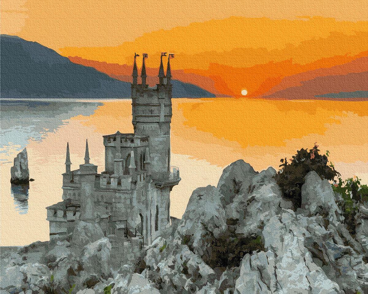 Картина по номерам. Ласточкино гнездо, Крым, закат, 40*50 см, Brushme, в коробке