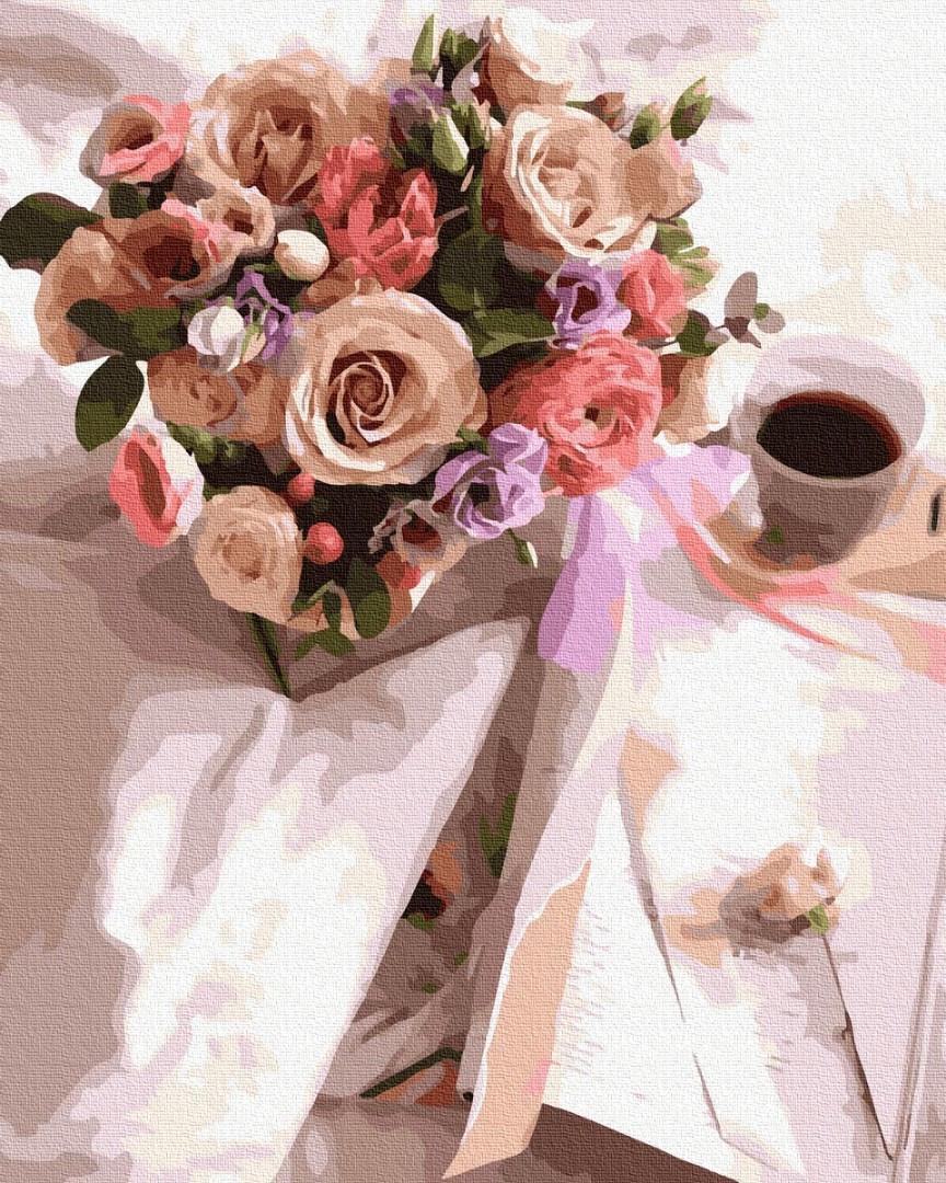Картина по номерам. Утренний букет цветов и кофе , 40*50 см, Brushme, в коробке