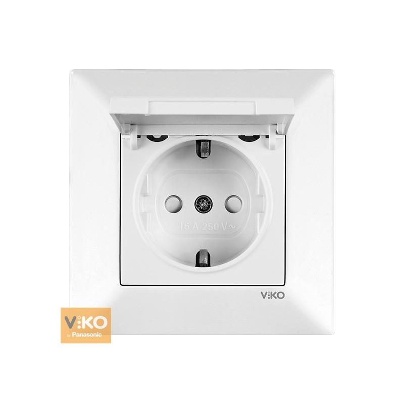 Розетка с заземлением, защитной шторкой и крышкой VIKO Meridian - Белый