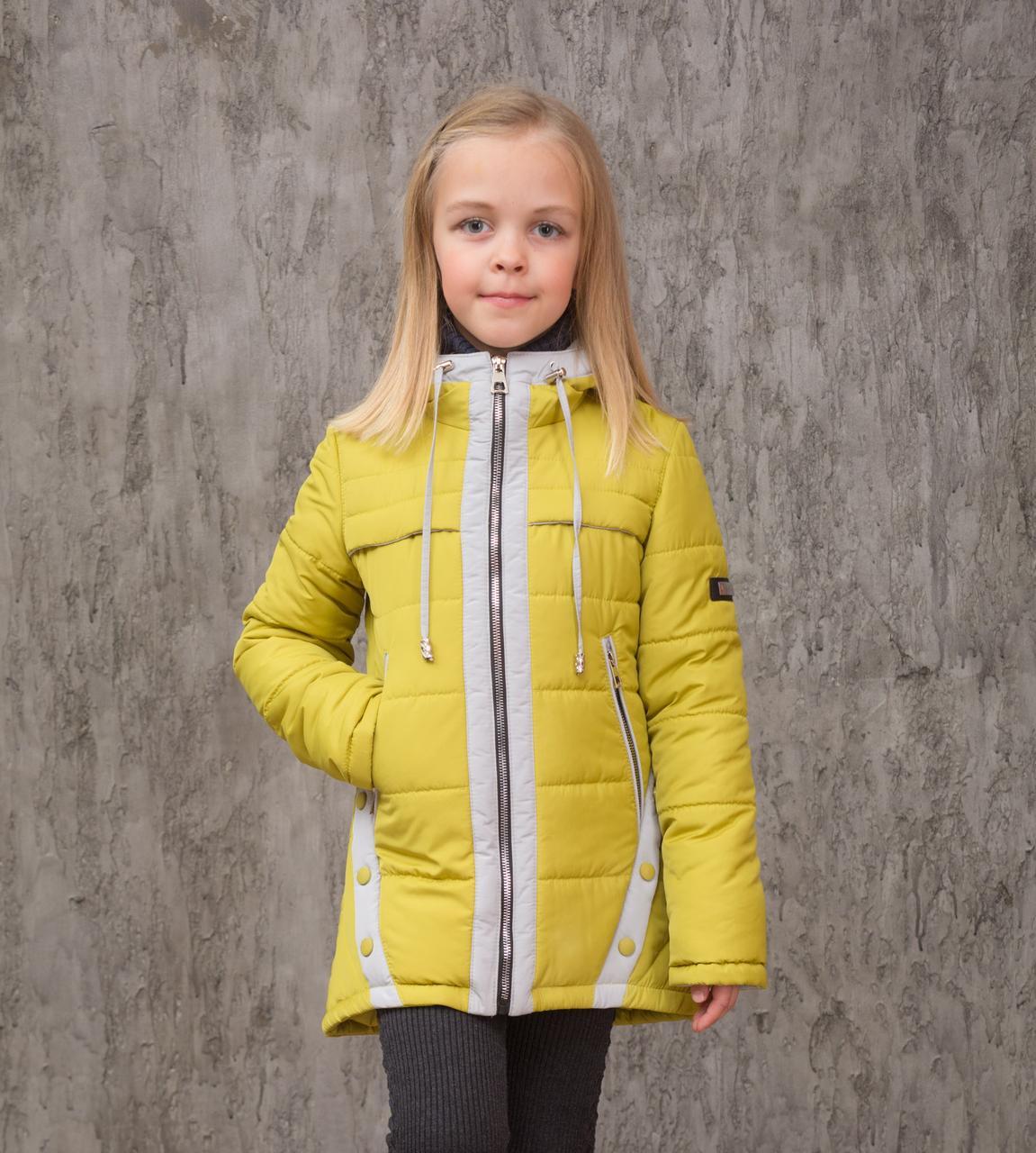 Демисезонная куртка на девочку 122р детская курточка весна-осень олива с серым