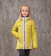 Демисезонная куртка на девочку 122р детская курточка весна-осень олива с серым, фото 1