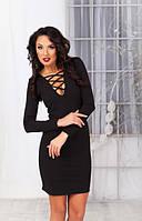 Платье мини облегающее с переплетами на декольте  (2 цвета) 08163, фото 1