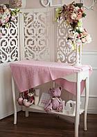 Акриловый ажурный розовый плед детский, фото 1