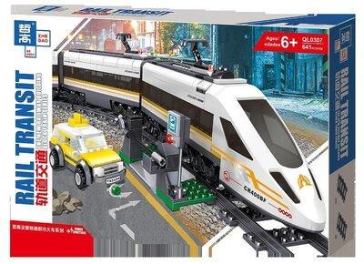 """Конструктор ZheGao QL0307 """"Скоростной поезд"""" 641 деталей."""