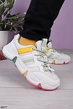 Стильные кроссовки женские белые с зеленым /розовым/ желтые эко-кожа+ текстиль