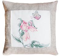 """Набор для вышивания подушка квадрат """"Бабочка и цветок"""" (в светлой рамке)"""