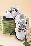 Стильні кросівки жіночі білі з чорним/ помаранчевим еко-шкіра+ текстиль, фото 2