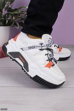 Стильные кроссовки женские белые с черным/ оранжевым эко-кожа+ текстиль