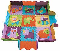 Коврик-пазл детский развивающий игровой Веселый зоопарк с бортиком 122х122 см Baby Great