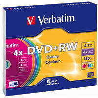 Диск DVD+RW Slim Verbatim 4.7GB, 4x Color (43297) (код 639478)