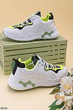 Стильные кроссовки женские белые с зеленым/ черным эко-кожа+ текстиль