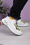 Стильні кросівки жіночі білі з зеленим/ чорним еко-шкіра+ текстиль, фото 2